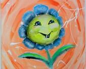 Sunflower Flower Painting on Canvas, Kids Wall Art, Kids Room Decor, Artwork for Children, nursery art, baby room art decor