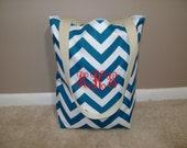 personalized Small Beach tote bag, pool tote, market tote in bright blue and white chevron print