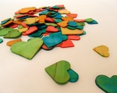Wooden Hearts Assorted Sizes - Hand dyed set of 10