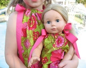 PIllowcase Dress. Matching clothing for American Girl Doll. Matching Outfit. American Girl Matching Sets. Dress for Girl and 18 inch doll