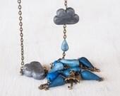 Drip / Drop - handmade clay rain drop and umbrella necklace with bronze chain