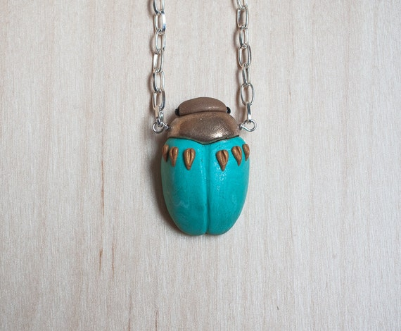 RESERVED for Sharri - handmade clay beetle necklace with silver chain