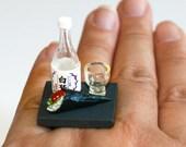 Kawaii Japanese Miniature Food Ring - Saki Bottle and Cup with Maki Sushi
