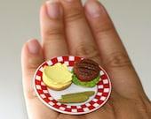 Kawaii Miniature Food Ring - Cheese Hamburger with Pickles