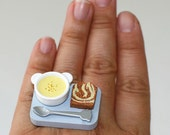 Kawaii Miniature Food Ring - Cream Soup and Bread