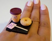 Kawaii Miniature Food Ring - To Go Combo - Coffee and A Bagel