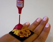 RESERVED for a Special Customer - Kawaii Miniature Food Floating Ring - French Fries and Onion RIngs with Ketchup