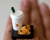 Kawaii Miniature Food Ring - To Go Combo - Coffee and A Chocolate Chip Scone