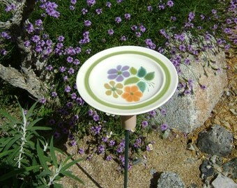 BIRD FEEDER Salad Plate, Colorful Flowers, Recycled Salad Plate. For Bird Seed, Fruit, Bread, Nuts. (Stake not included) Ready to Ship