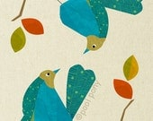 blue love birds - mid century design art print
