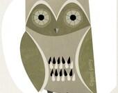night owl - mid century design art print 5 x 7 inches