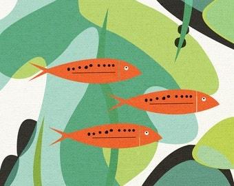 aquarium, mid century design art print