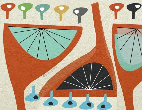 trumpet flowers -  mid century design art print