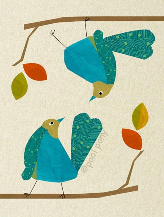 blue love birds - mid century design art print