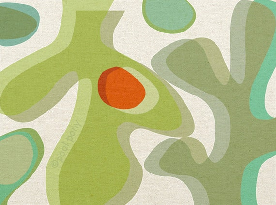 kombu - LARGE mid century design art print