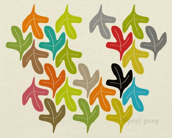 autumn - mid century design art print NEW EXTRA LARGE A2 size