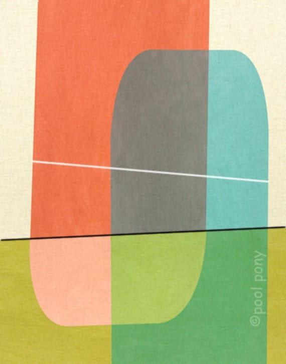 mid century design art print - bollard