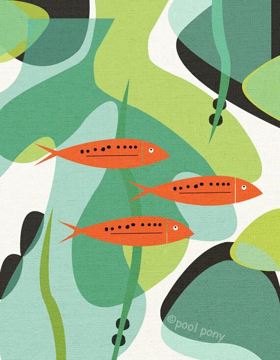 aquarium, LARGE mid century design art print