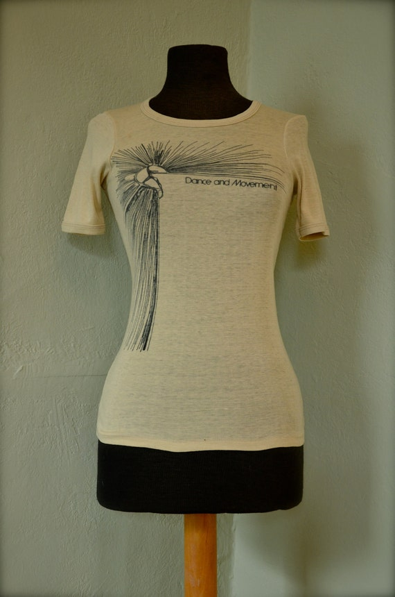 Vintage Women's Dance and Movement Soft Pale Yellow T-Shirt 1970's