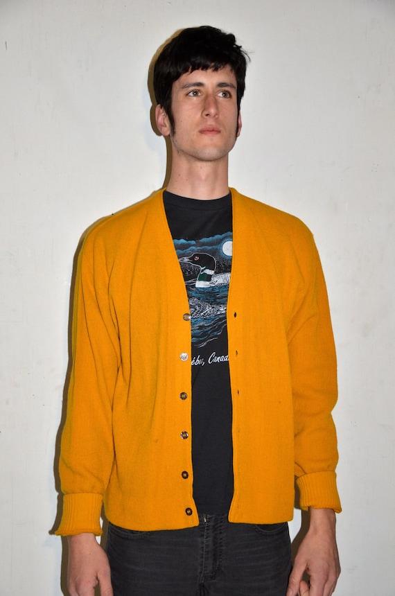 Vintage Men's Mustard Yellow Cardigan Sweater 1950's 1960's Medium Small