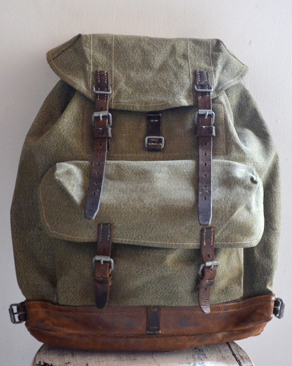 Vintage Army Green Military Canvas Hiking Backpack Bag