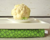 Laptop Lap Desk or Breakfast serving Tray - Off White with Lime Green- Custom Order