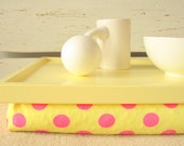 Polka Dots Laptop Lap Desk or Breakfast serving Tray- Table- Yellow with Pink- Custom Order