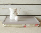Wooden Laptop Lap Desk or Breakfast serving Tray - L size - Grey with Coral -  Custom Order