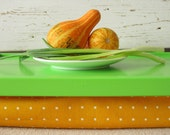 Laptop Lap Desk or Breakfast serving Tray - Lime Green with Yellow Dotty- Custom Order