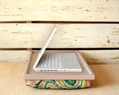Laptop Lap Desk or Breakfast serving Tray - Grey with paisley print- Custom Order