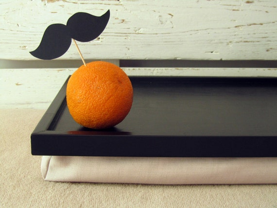 Large Mustache and an Orange - Hand printed- laptop Lap Desk, Tray, Stand - Custom Order