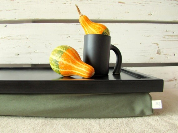 Laptop Bean Bag, Lap Desk or Breakfasts in Bed serving Tray - Balck and Olive Green - L size