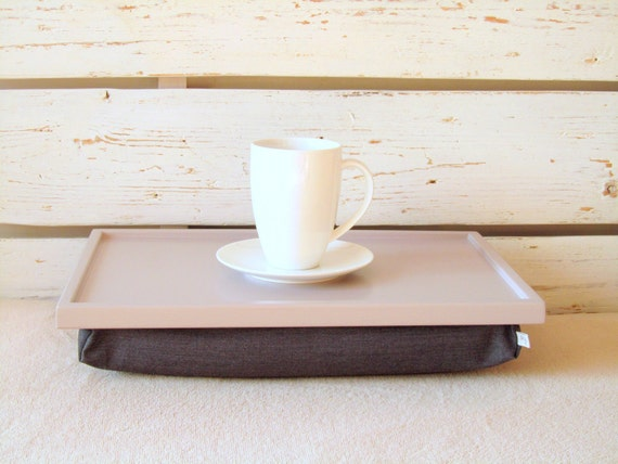 Breakfasts In Bed- wooden serving tray or Laptop Lap Desk- Soft Grey with Grey Pillow