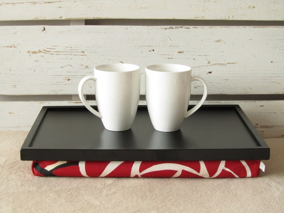 Laptop Lap Desk or Breakfast serving Tray - Black with Red floral Fabric- Custom Order