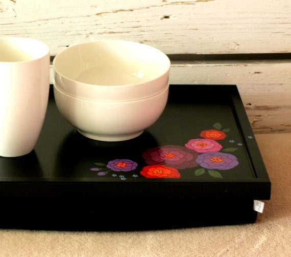 Laptop Lap Desk or Breakfast serving Tray - Hand painted on Black with Pink and Purple Flowers- Custom Order