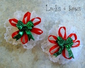 Baby bow white lace barrette girls holiday hair accessories red green white lace ribbon Pkg. of 2