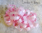 Girls hair accessories Childrens barrettes Pink loopy ribbon hair clips toddler hair bows