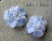 Flower girl hair accessories Baby blue hair bow flower hair clip flower barrette pkg. of 2
