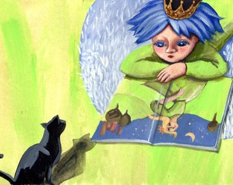 Fiammetta and the cat ... limited edition print from my original work