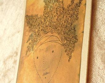 OOAK ACEO/ATC original painting  minimal style   ink drawing on ephemera