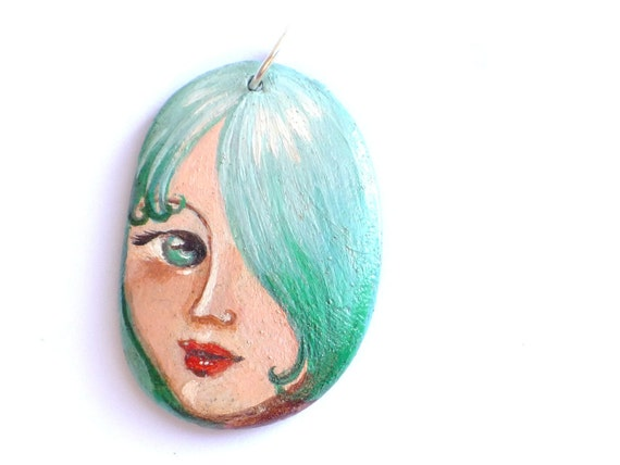 Painted stone necklace. portrait on stone, beach painted pebble