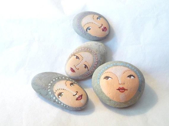 Painted stones. Made to order. 4 stones Original art work, ooak