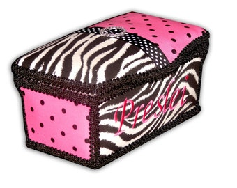 Zebra and Hot Pink Large Diaper Wipes Tub