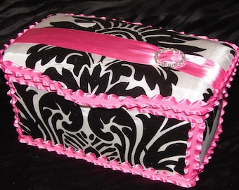 Gorgeous Black and White Damask Large Diaper Wipes Tub