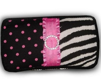 Gorgeous Pink and Black Zebra Travel Diaper Wipes Case