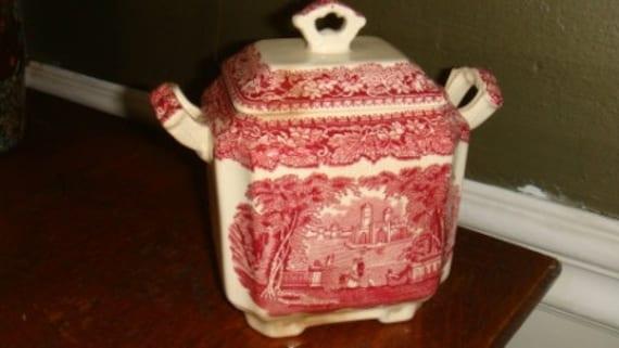 Vintage Masons Vista Toile Vista Pink Red Transfer Ware Covered Serving Bowl