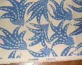 Lee Jofa Sea Cloth Dance Leaf in Blue on natural linen