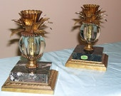 Pair hollywood regency brass, marble and glass candleholders from 1960's
