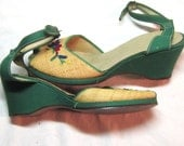 Vintage Green Floral Embroidered PeepToed Platform Espadrilles Rockabilly Swing Dance Gift for Her Mothers Day  Roman Holiday Style