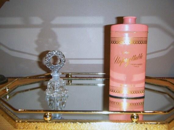 Vintage Octagon Gold Vanity Gold Mid century bath Home Decor, Hollywood Regency Mirror  Home table Dinner decor